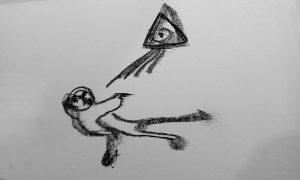 Eine Zeichnung mit schwarzer Zeichenkreide gefertigt. Sie zeigt links eine liegende Figur mit dem Gesciht nach oben gerichtet. Von einem Dreieck ausgehend kommen Strahlen auf die Figur herab.um ist eine Art Aura und es wird ihr Atem eingehaucht