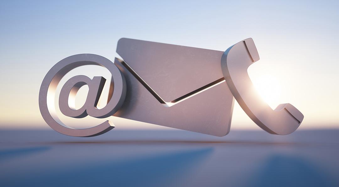Kontaktsymbole für Email, Post und Telefon