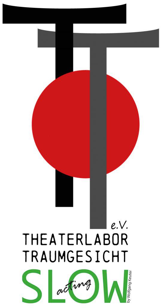 Logo des TheaterLAbor TraumGesicht mit dem grünen Slow Acting-Schriftzug