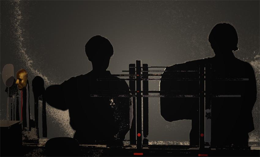 Ensemble Blütenzweige:Schtten Szene von zwei japanischen Stockkämpfern.