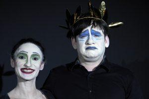 Nach der Aufzeichnung - fürs Album. Peter als Leonce und Belgin als Valerio. Beide sind Teilnehmer des Schauspielunterrichts.