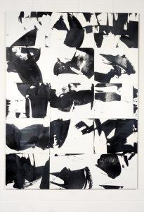 Schwarz-weißes Gemälde von Rolf Abendroth. Mit Rakel gearbeitet. Es lädt die Phantasie ein zum Reflektieren.