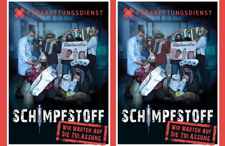 Plakat vom Kabaretungsdienst für das aktuwelle Programm: Schimpfstoff