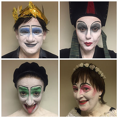 Geschminkte Schauspieler des Theaterlabors