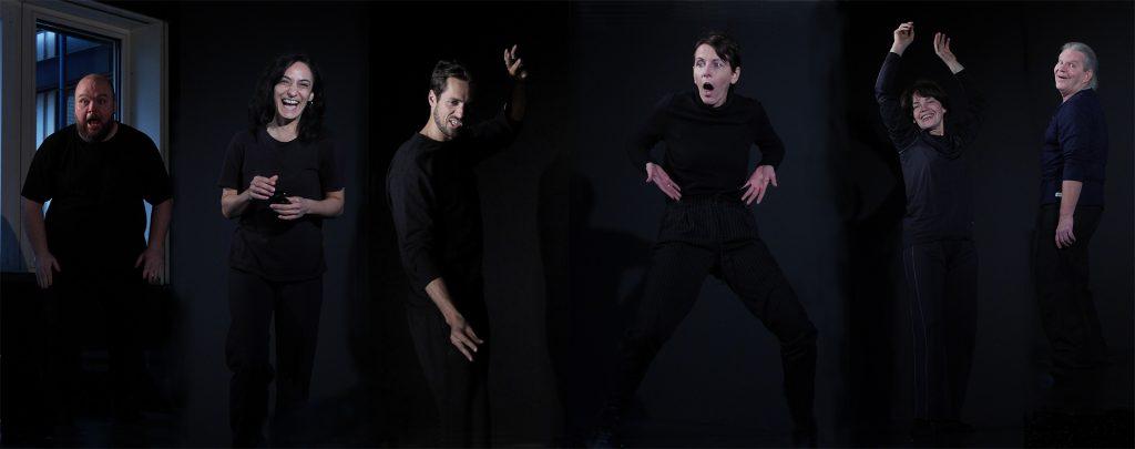 Theater-Workshops Slow Acting: Die Teilnehmer üben unterschiedliche Gebärden und Gehweisen.